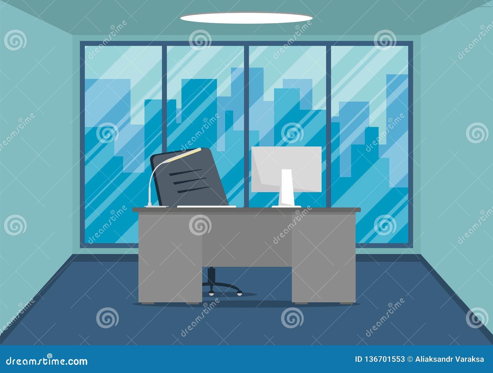 现代办公室设计工作场所设计有大窗口的