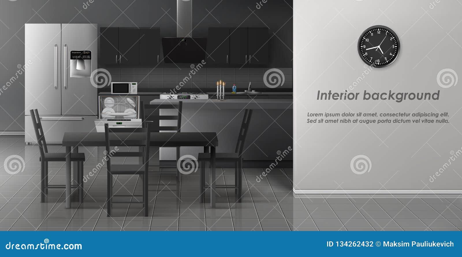 现代厨房内部现实传染媒介大模型