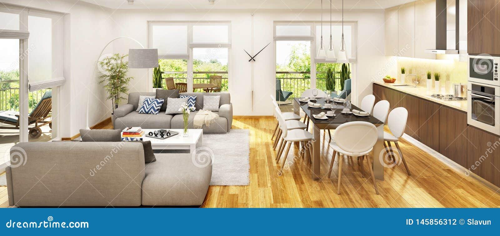 现代厨房和客厅有大窗口的