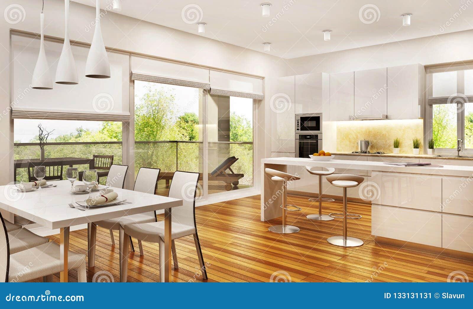 现代厨房和客厅