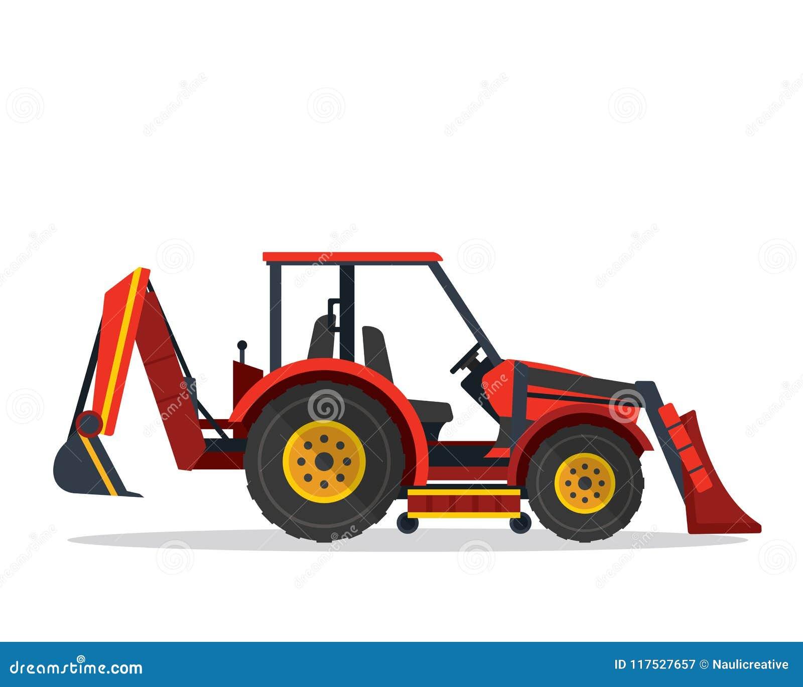 现代反向铲装载者拖拉机农业农厂车例证