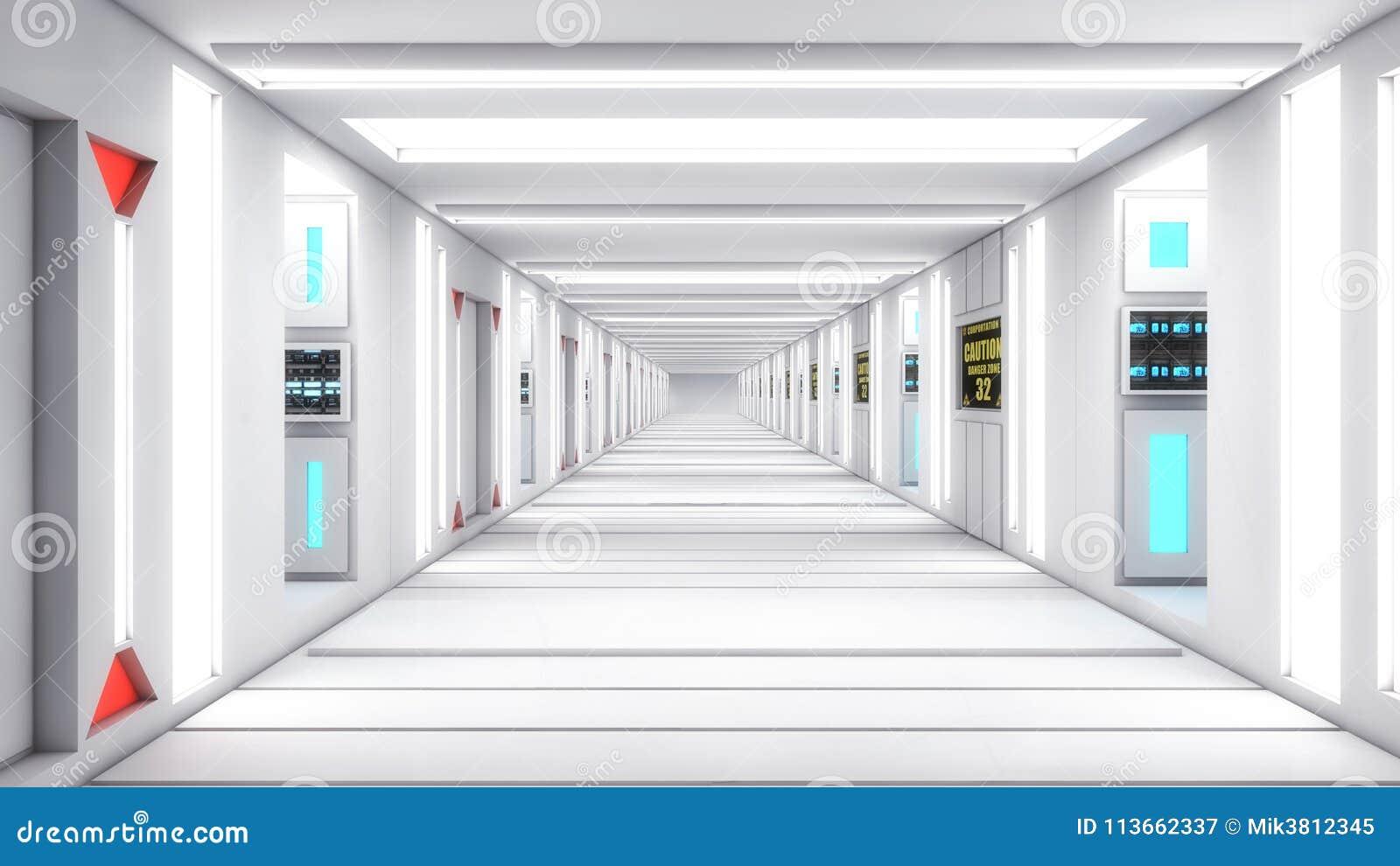 现代和未来派太空飞船走廊