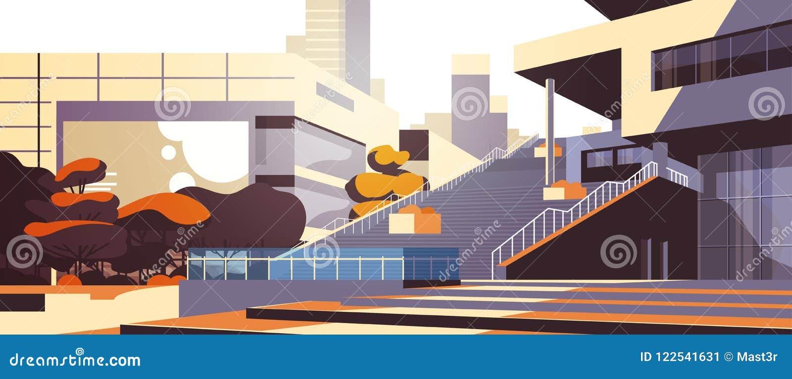 现代在摩天大楼大厦都市风景背景水平的舱内甲板的办公楼台阶外视图