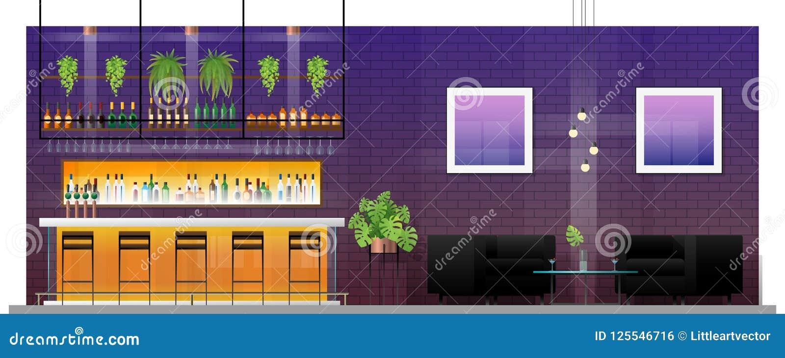 现代客栈内部场面有酒吧柜台、桌和椅子的