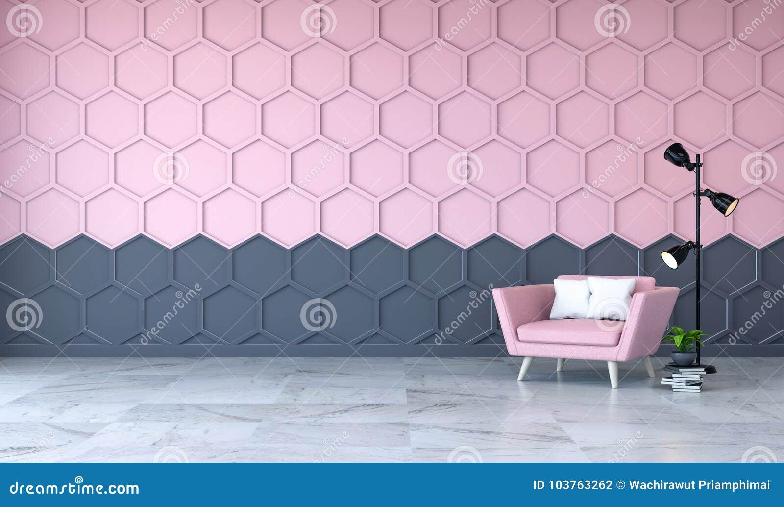 现代室室内设计、桃红色扶手椅子在大理石地板和桃红色与黑六角形捕捉墙壁, 3d回报