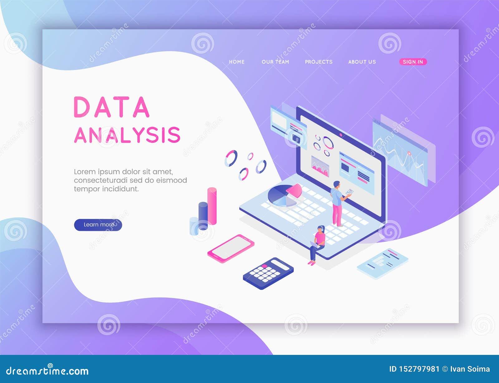 现代平的数据分析的设计等量概念网站和流动网站的 数据分析和办公室