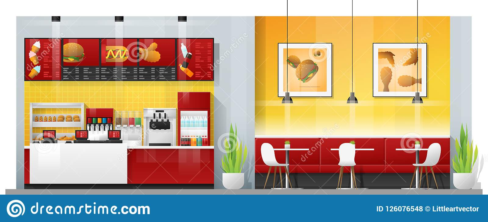 现代快餐餐馆内部场面有柜台、桌和椅子的