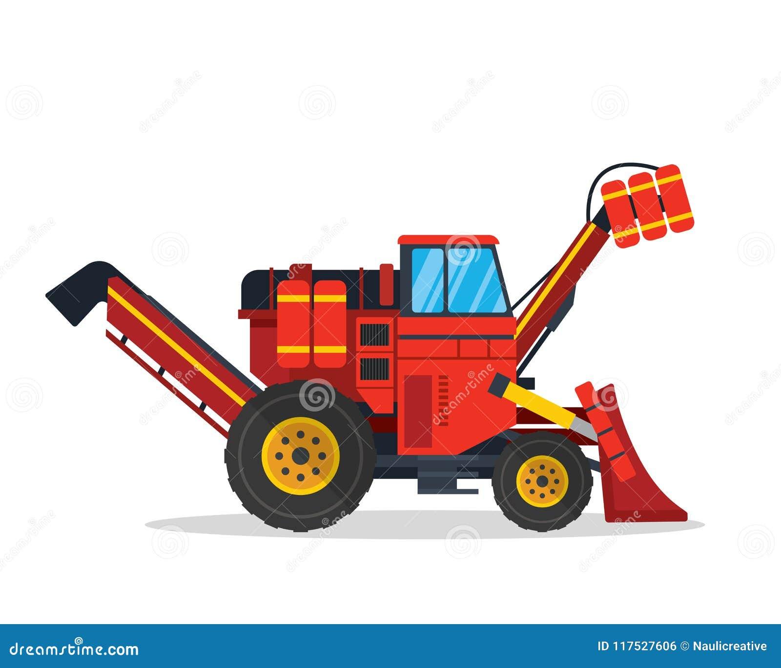 现代收获农业农厂车例证的藤茎和糖
