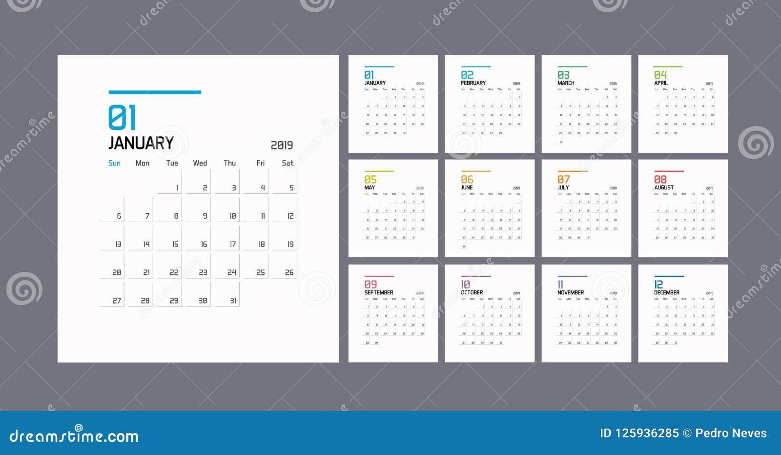 现代最小的日历计划者模板在2019年 传染媒介设计编辑可能的模板