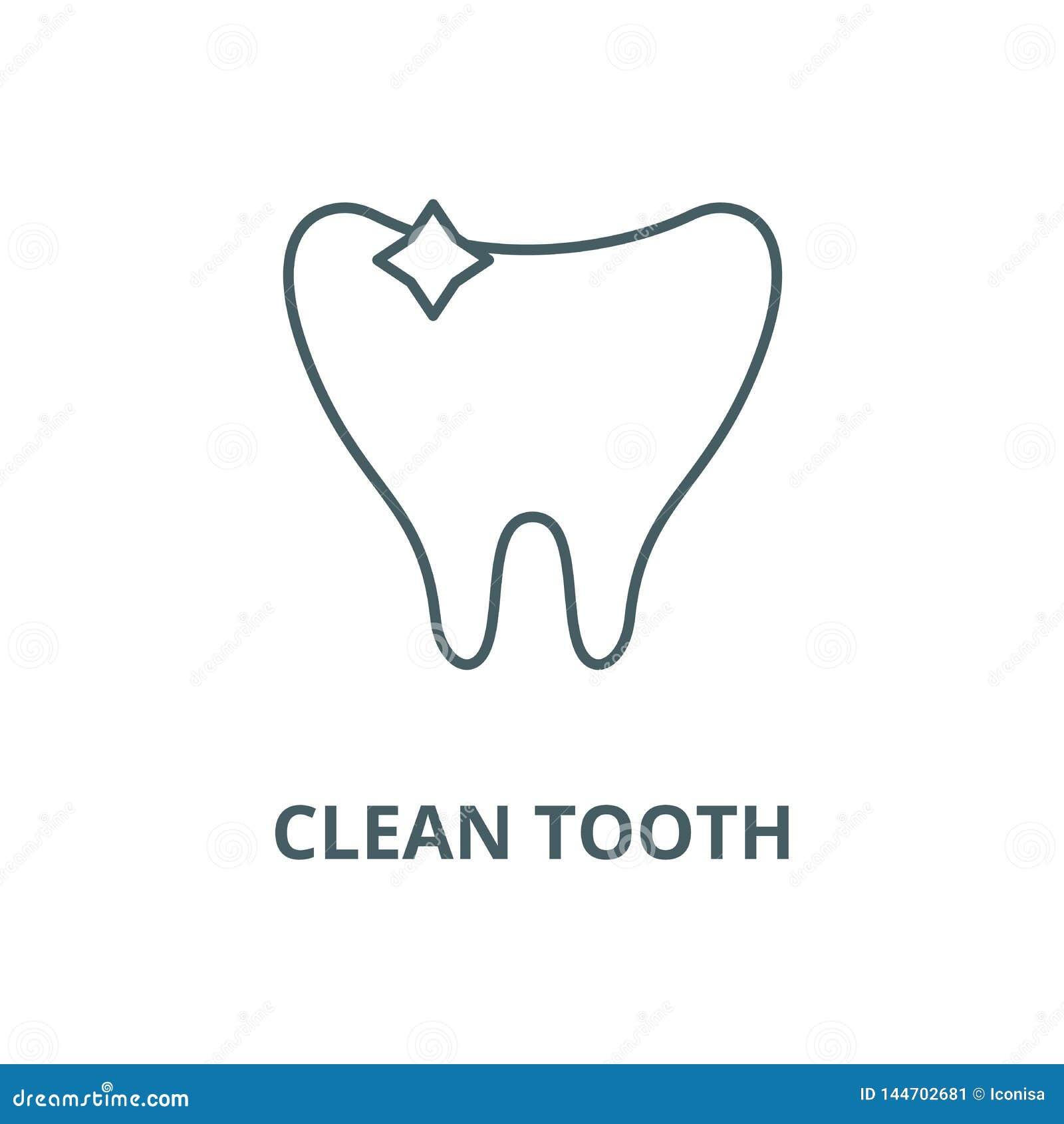现代牙设计象,传染媒介 干净的牙概述标志,概念标志,平的例证