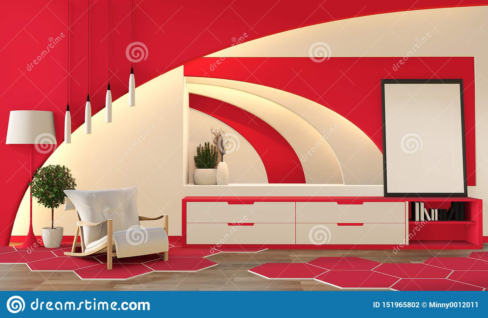 现代禅宗样式珊瑚颜色客厅 平安和平静的客厅 与东方对象和暗藏的光的装饰 3d