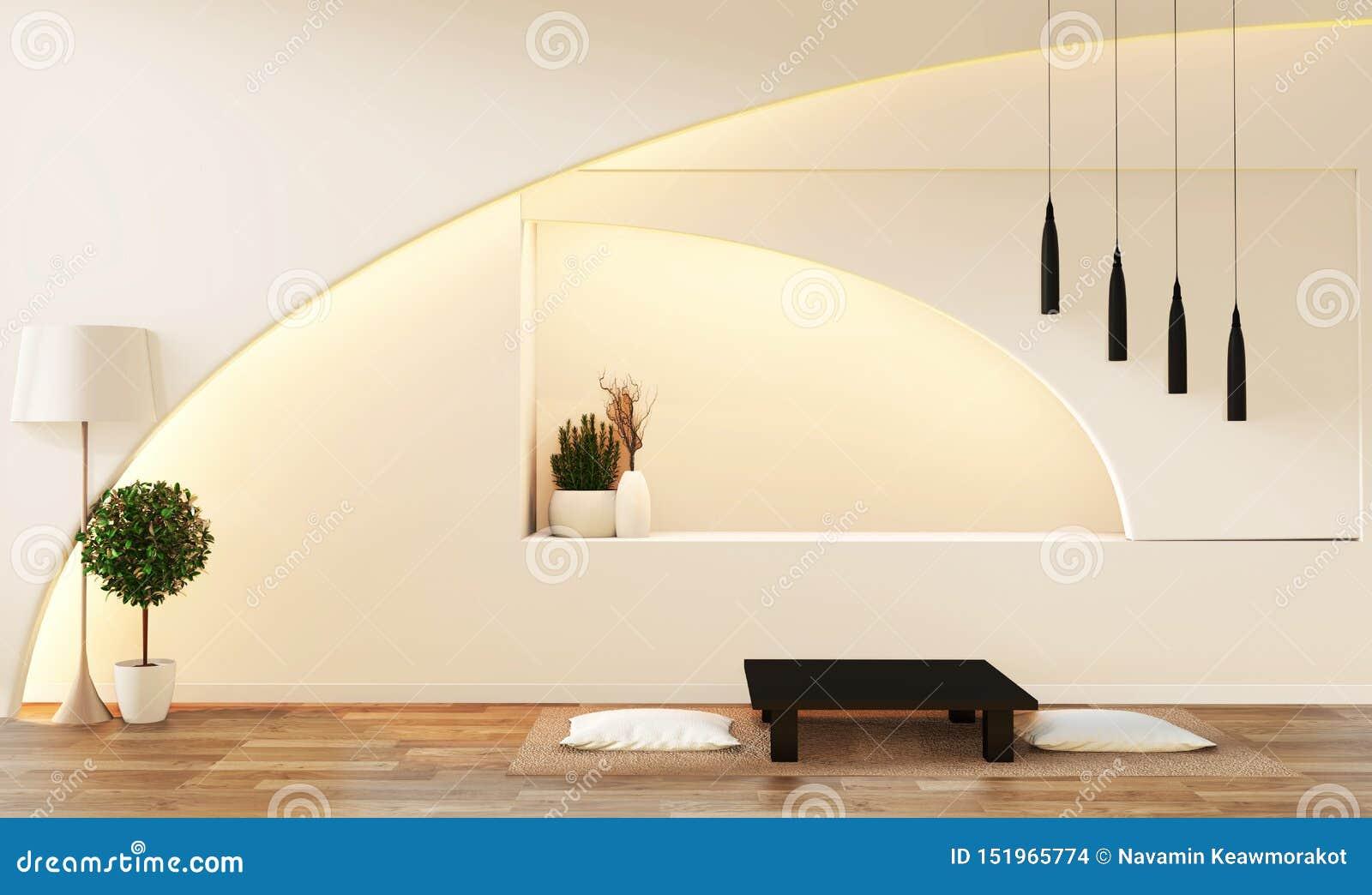 现代禅宗样式白色客厅 平安和平静的客厅 与东方对象和暗藏的光的装饰 3d??