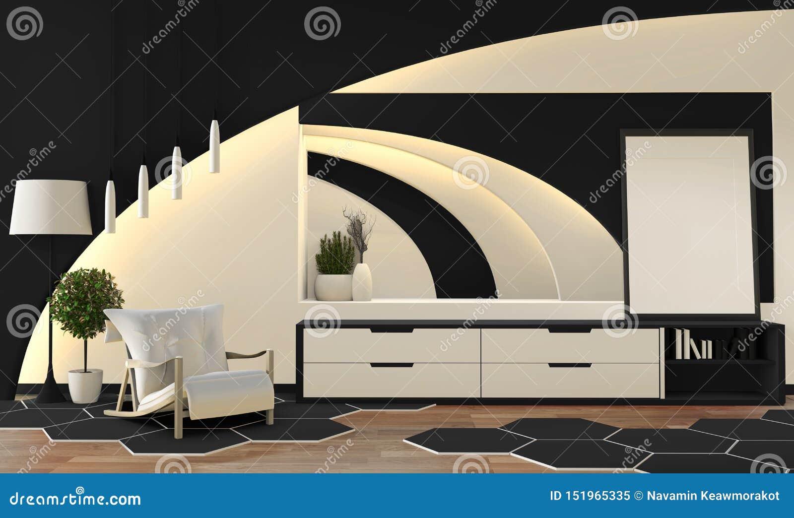 现代禅宗样式黑白客厅 平安和平静的客厅 与东方对象和暗藏的光的装饰 3d