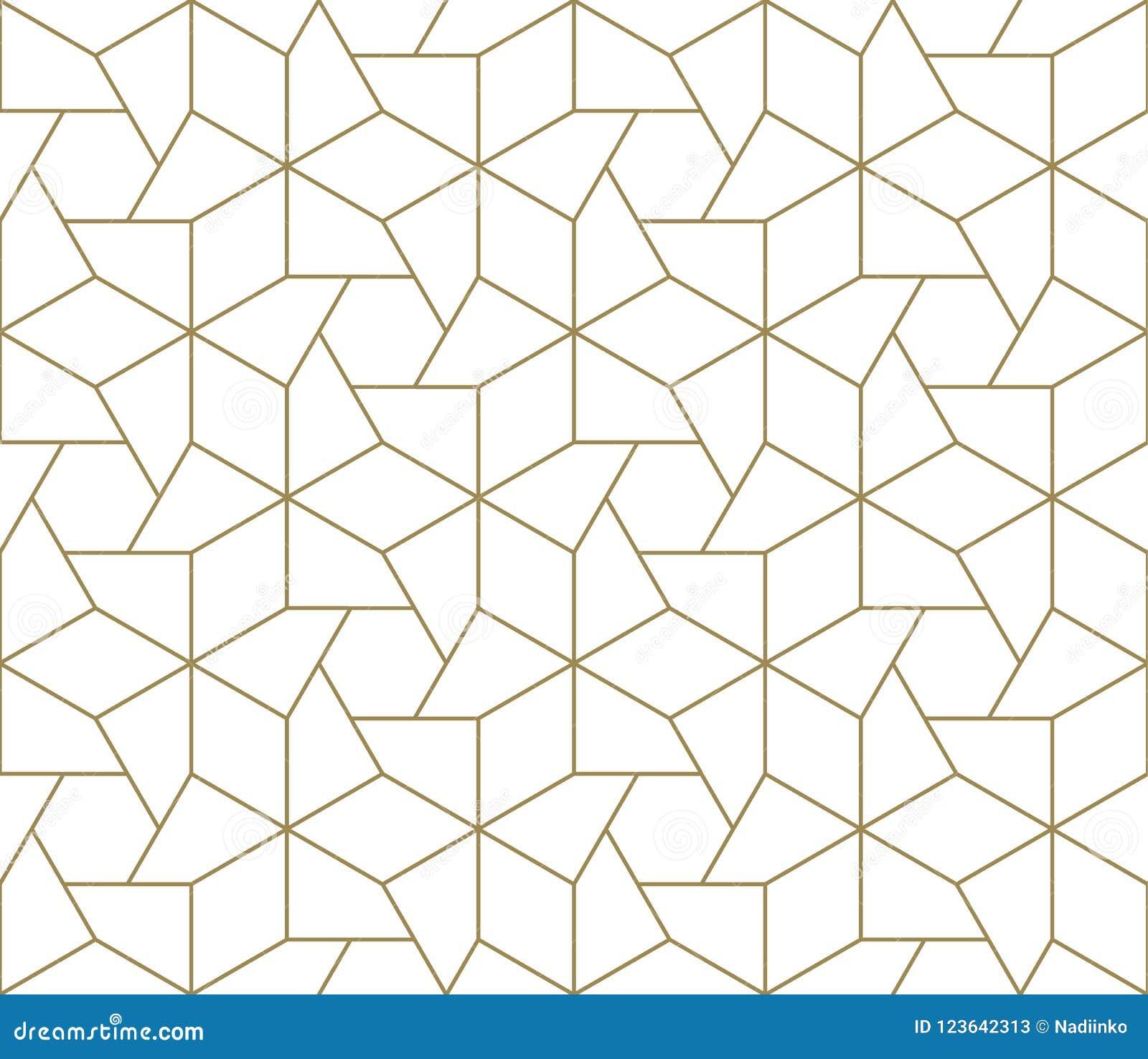 现代简单的几何与金线纹理的传染媒介无缝的样式在白色背景 轻的抽象墙纸
