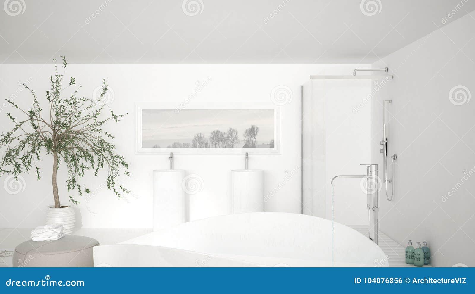 现代经典卫生间关闭在大浴盆,大阵雨a