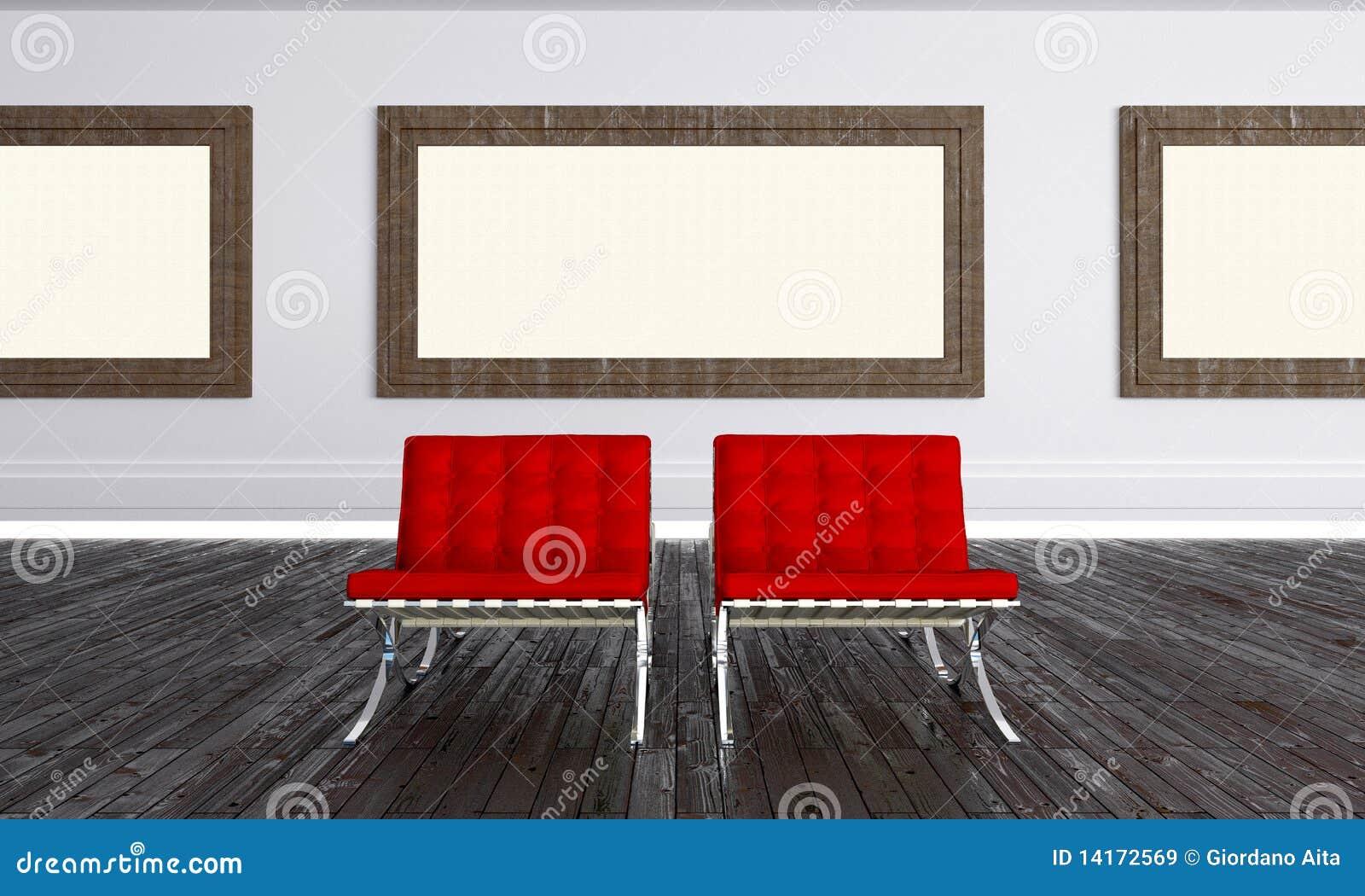 现代艺术画布空的画廊
