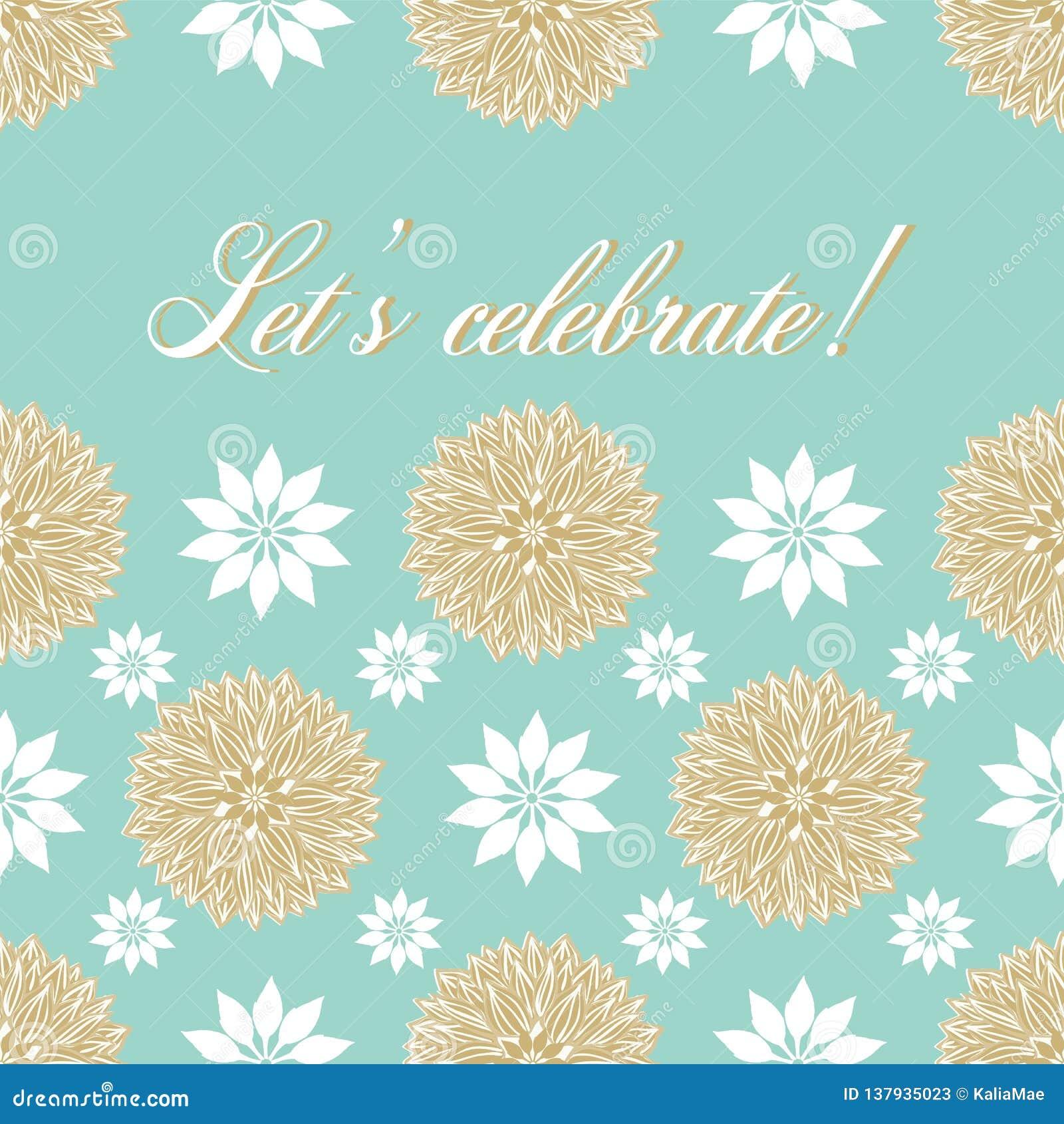 现代被传统化的waterlily花坛场在欢乐淡色蓝色设计,并且与让的金子颜色庆祝字法 向量