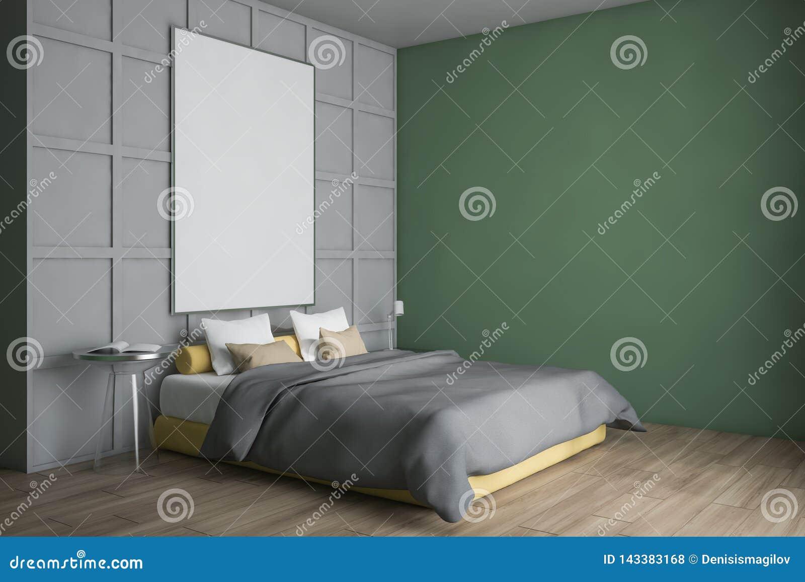 现代设计卧室内部 海报的嘲笑