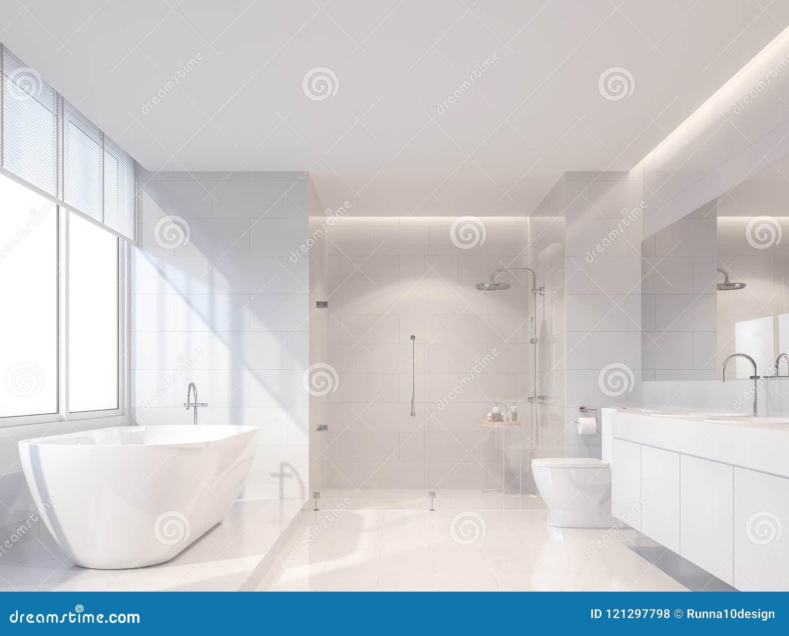 现代豪华白色卫生间3d回报,太阳是光亮的对里面
