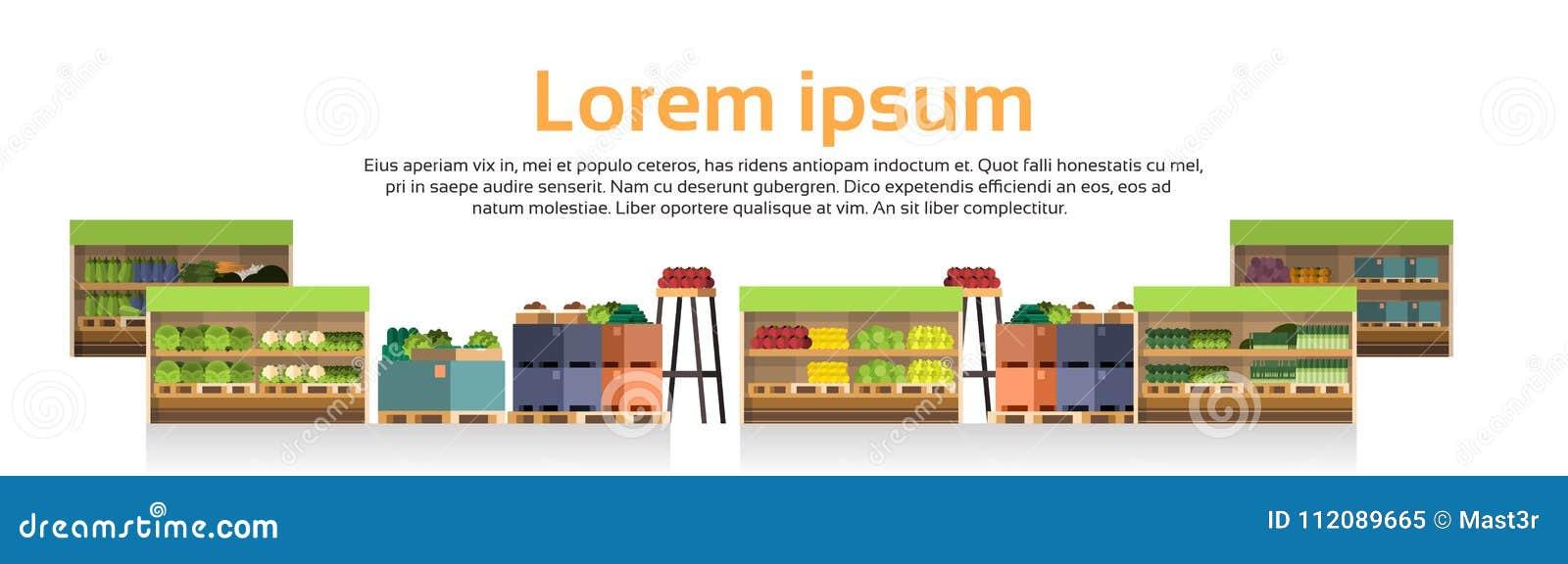 现代超级市场搁置零售店,有杂货食物的分类的超级市场