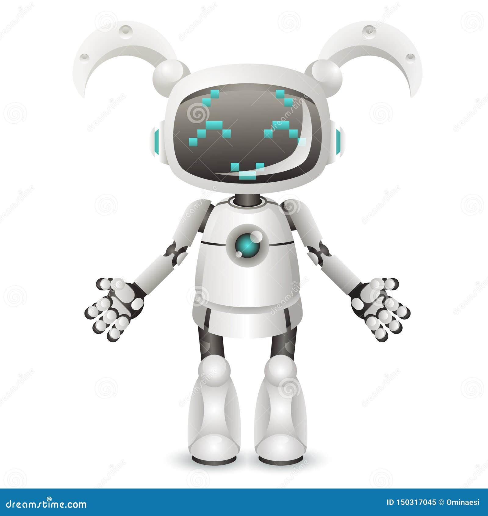 现代逗人喜爱的在白色背景3d现实设计隔绝的女孩女性机器人机器人字符人工智能