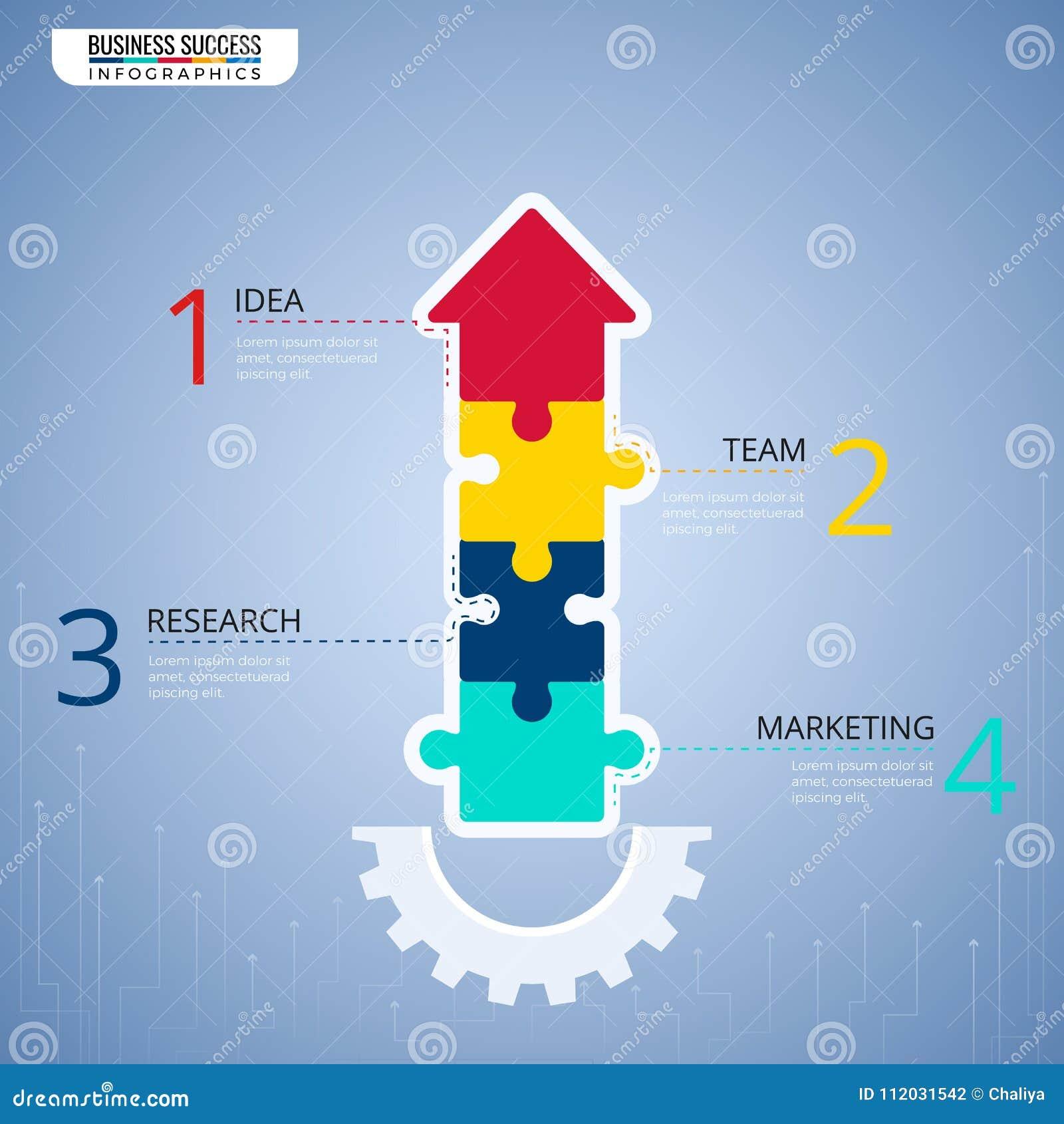 现代难题箭头infographics元素 对成功企业概念infographic模板的步 能为工作流布局使用