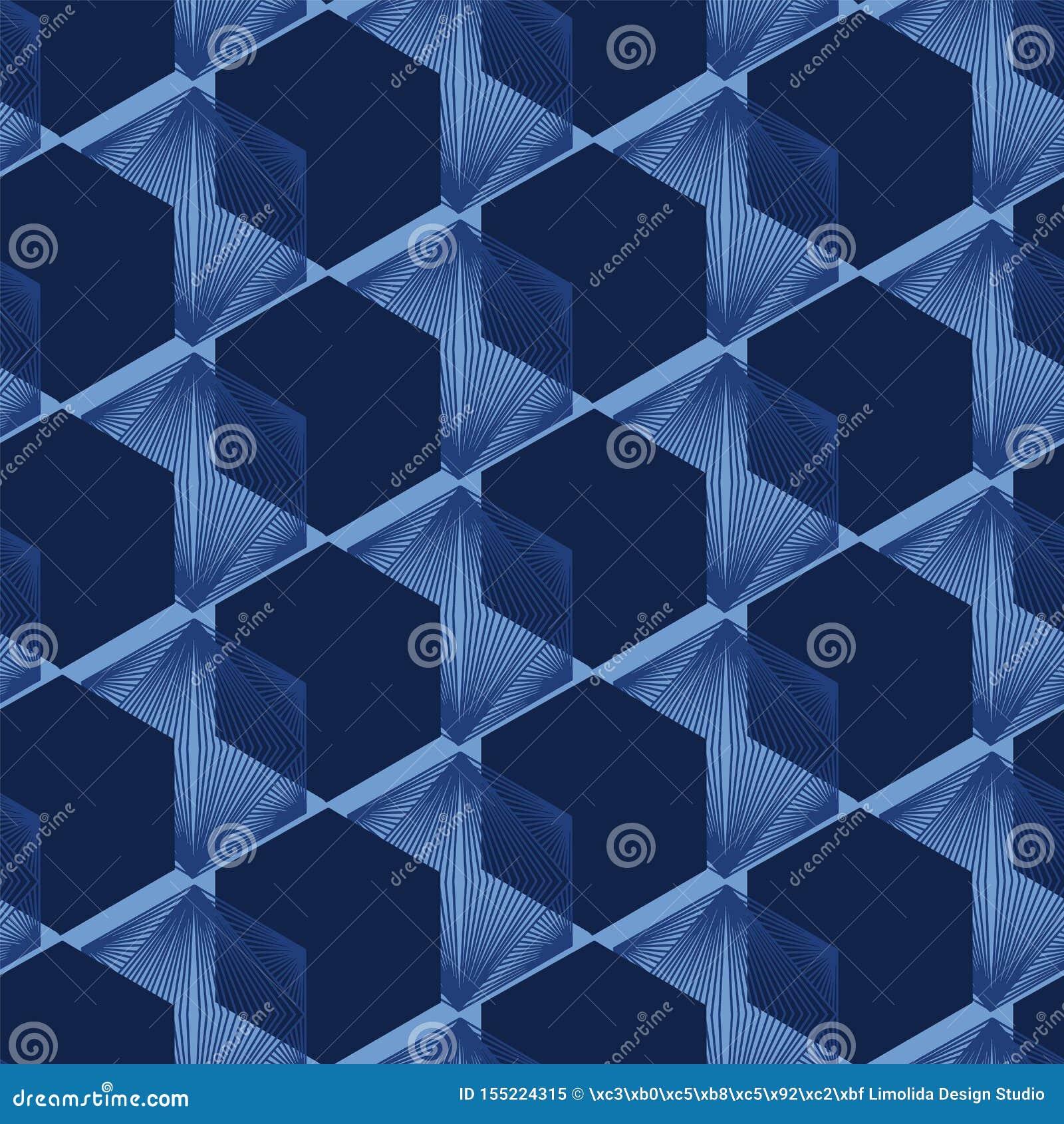 现代靛蓝色几何手拉的3d立方体样式 E 装饰单色geo