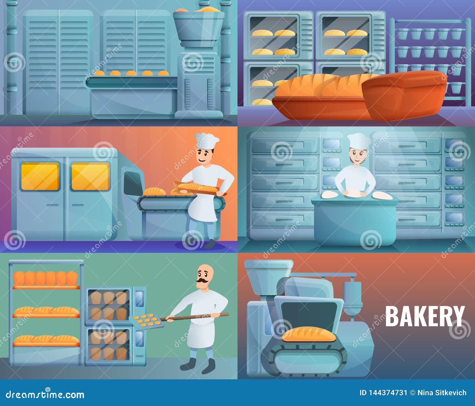 现代面包店工厂横幅集合,动画片样式