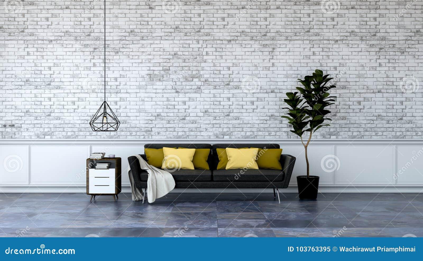 现代顶楼室内设计、黑家具在大理石地板和白色砖墙/3d回报