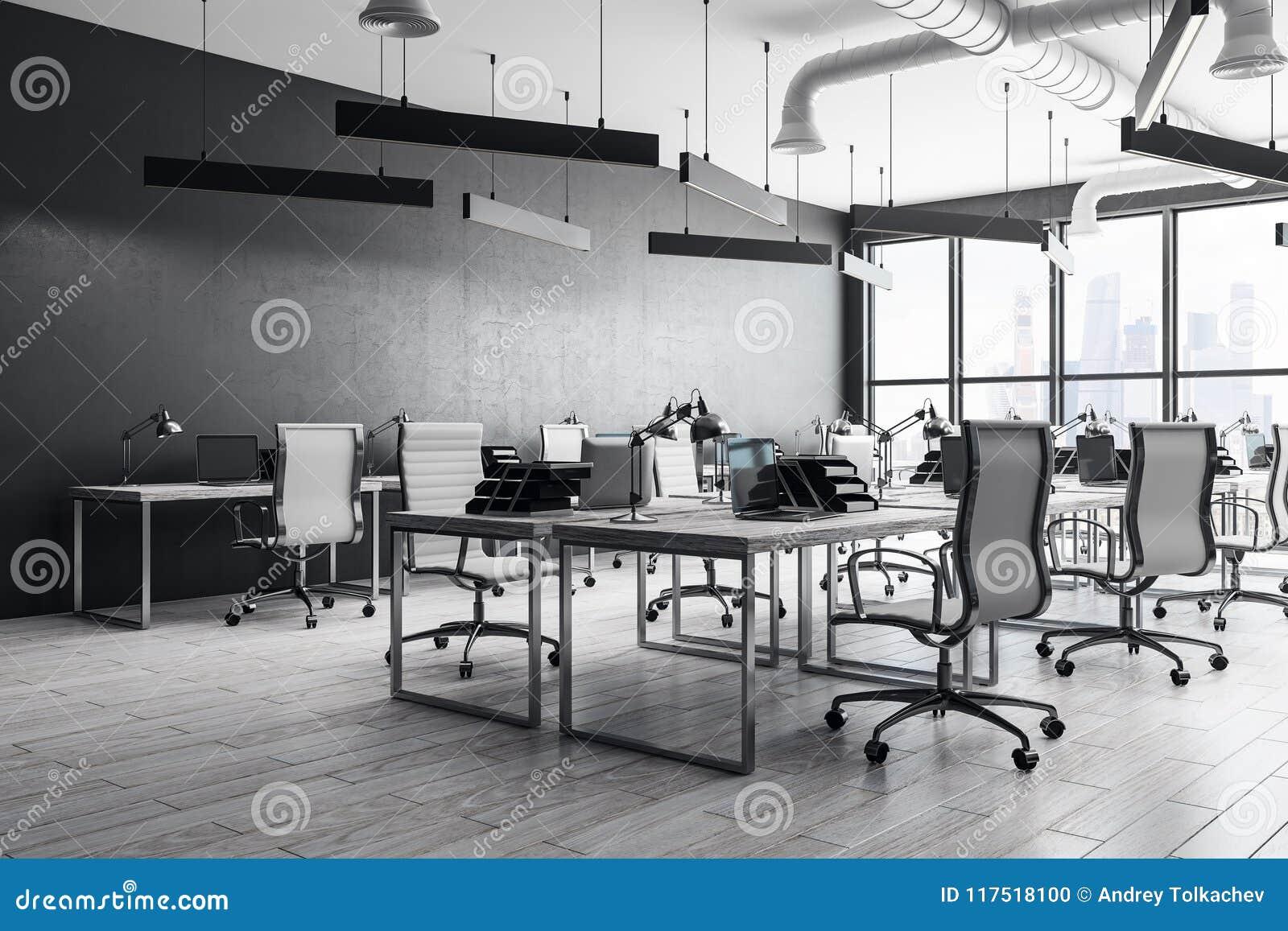 现代coworking的办公室内部