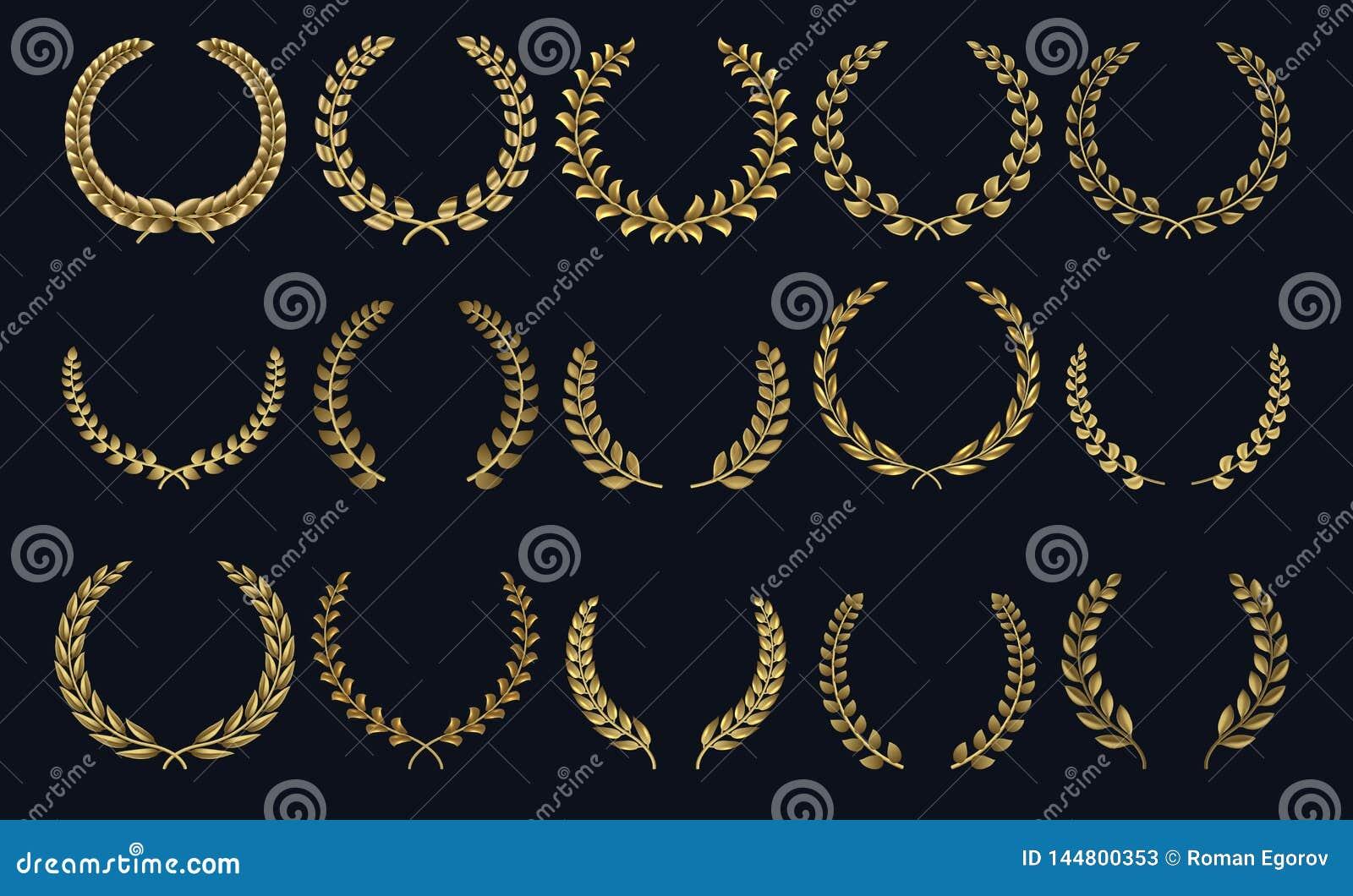 金黄月桂树花圈 现实冠,叶子形状优胜者奖,叶的冠3D象征 传染媒介月桂树剪影和