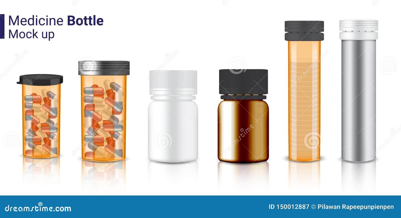 现实医学透明琥珀色包装的瓶3D嘲笑胶囊和维生素药片的 在白色背景的保健品
