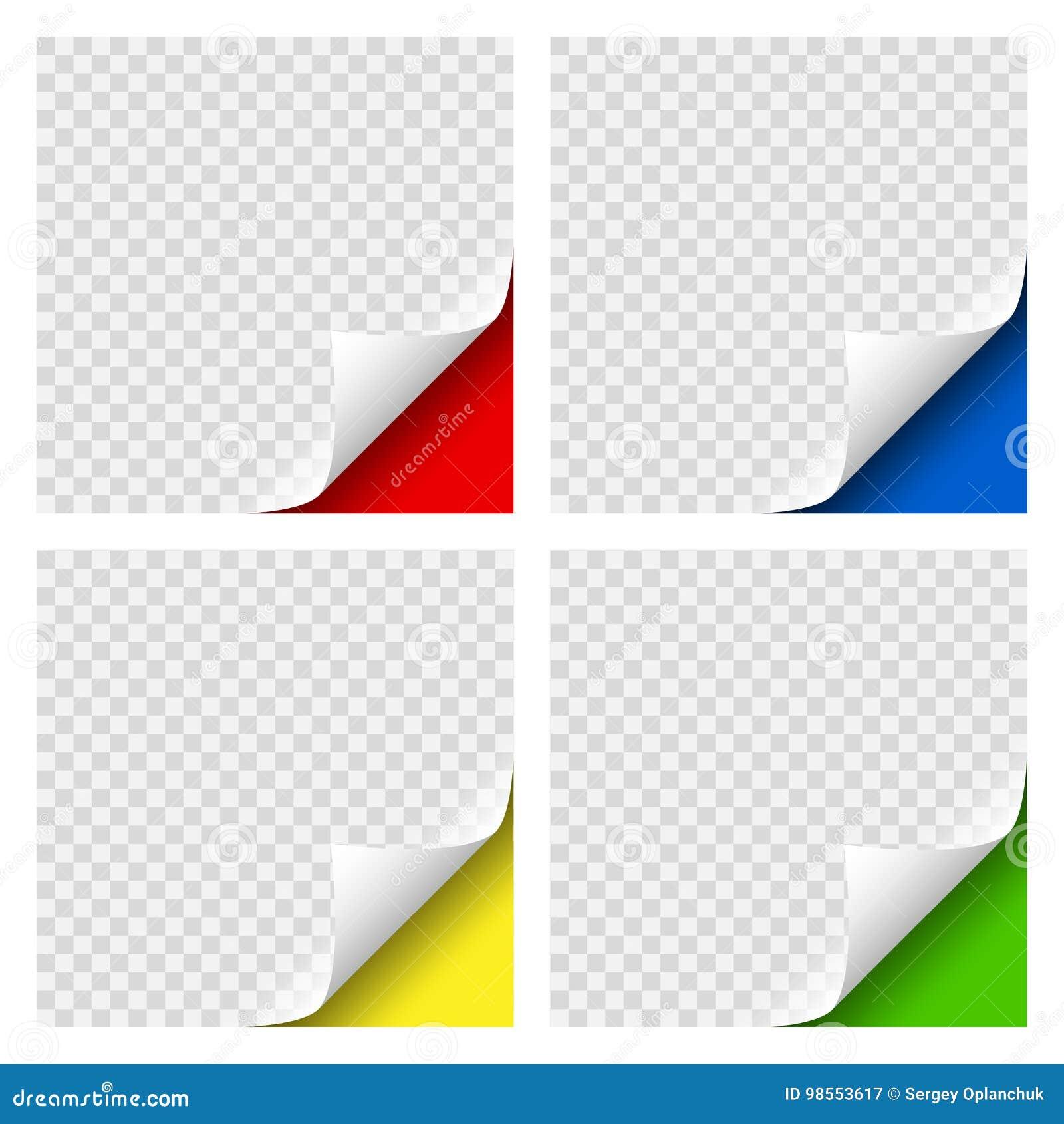 现实卷曲页色的角落设置了与您的设计的透明阴影 文件的图表元素