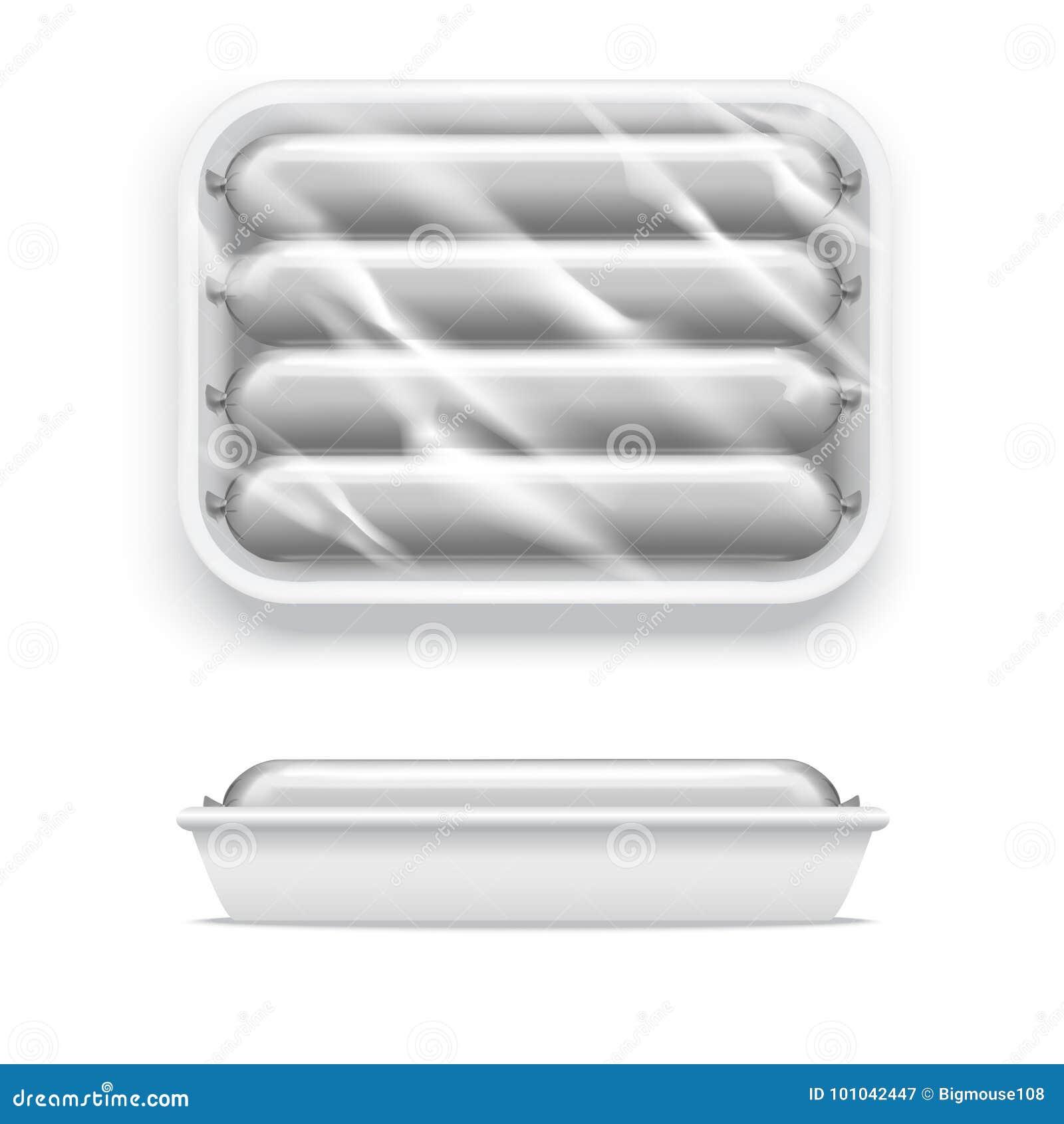现实在超级市场包裹的模板空白白色香肠 向量