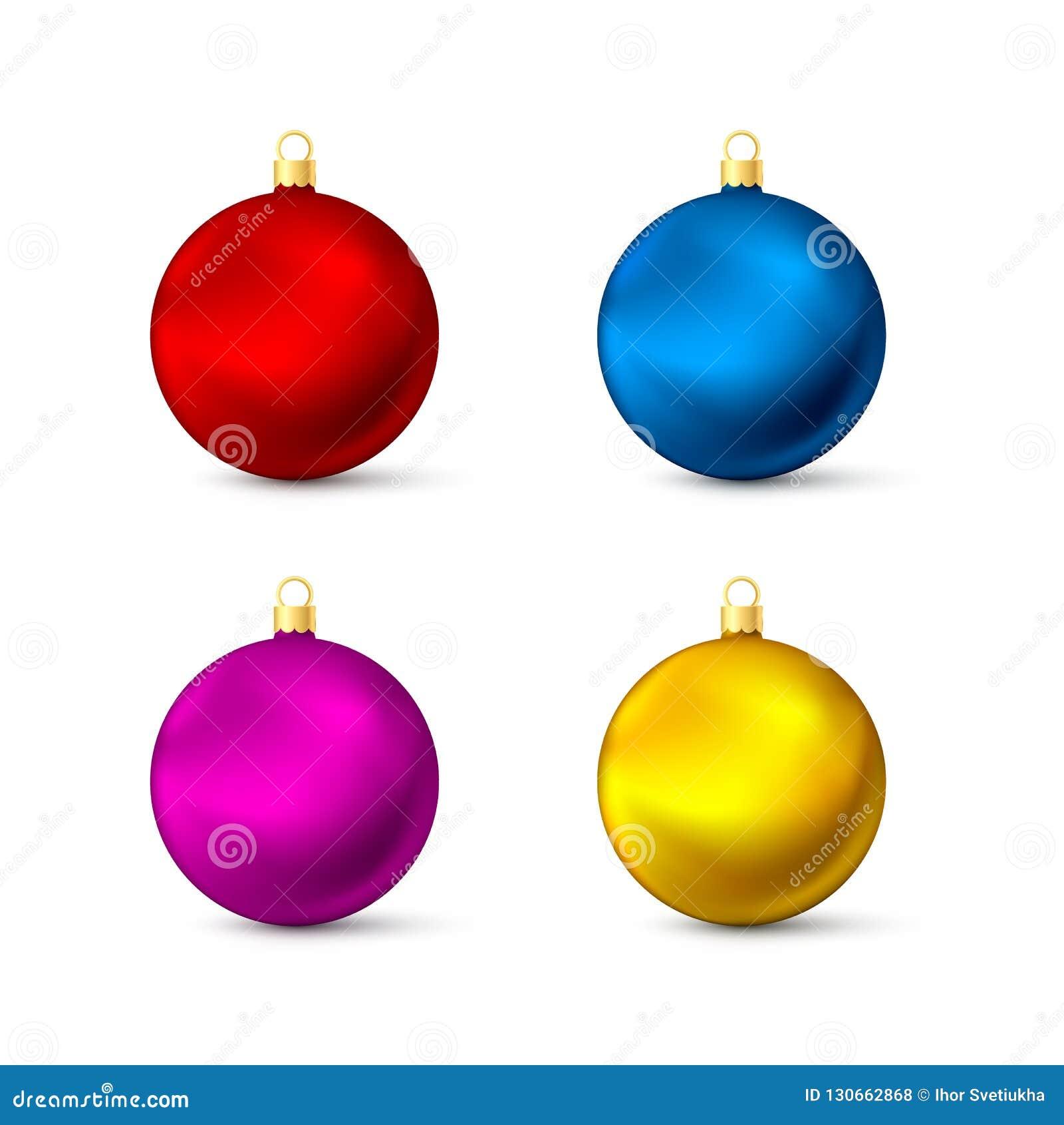 现实多彩多姿的圣诞节球集合 五颜六色的新年的玩具 蝴蝶