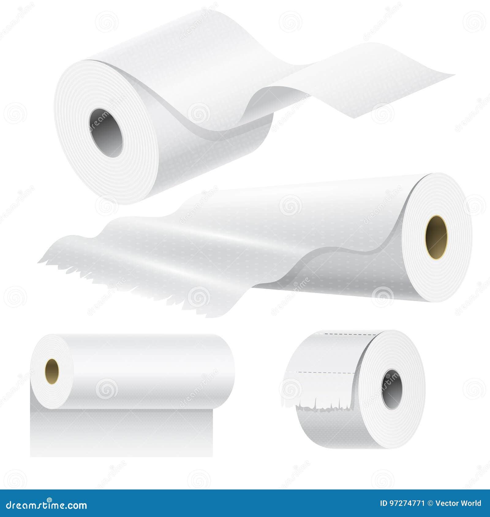 现实纸卷嘲笑设置的被隔绝的传染媒介例证空白白色3d包装的洗碗布模板