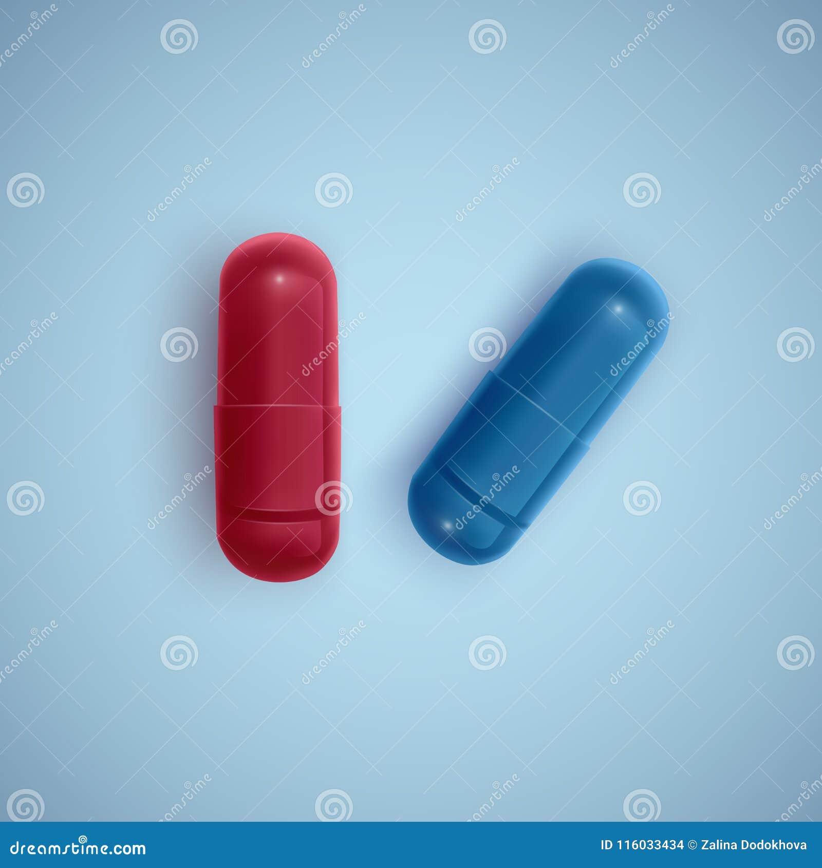 现实胶囊和一个药片在一种白色背景、医学、红色胶囊和白色片剂,传染媒介例证