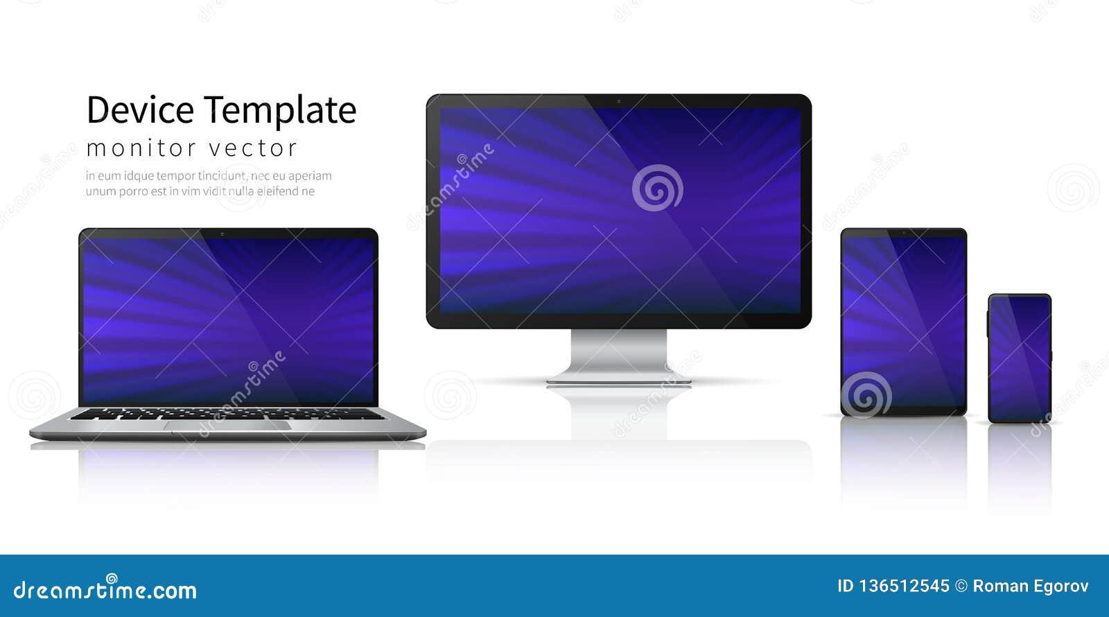 现实设备 计算机膝上型计算机片剂电话大模型,智能手机屏幕流动小配件显示 显示器设备模板