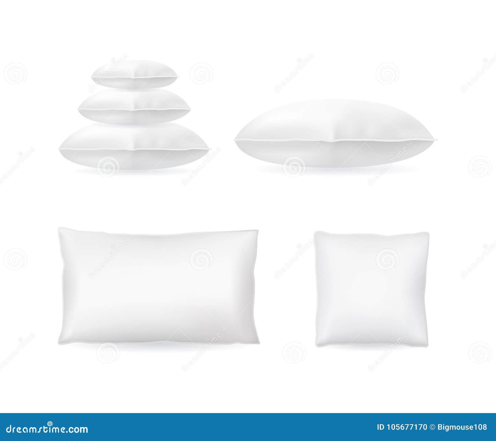 现实详细的3d设置的模板空白白色枕头嘲笑 向量