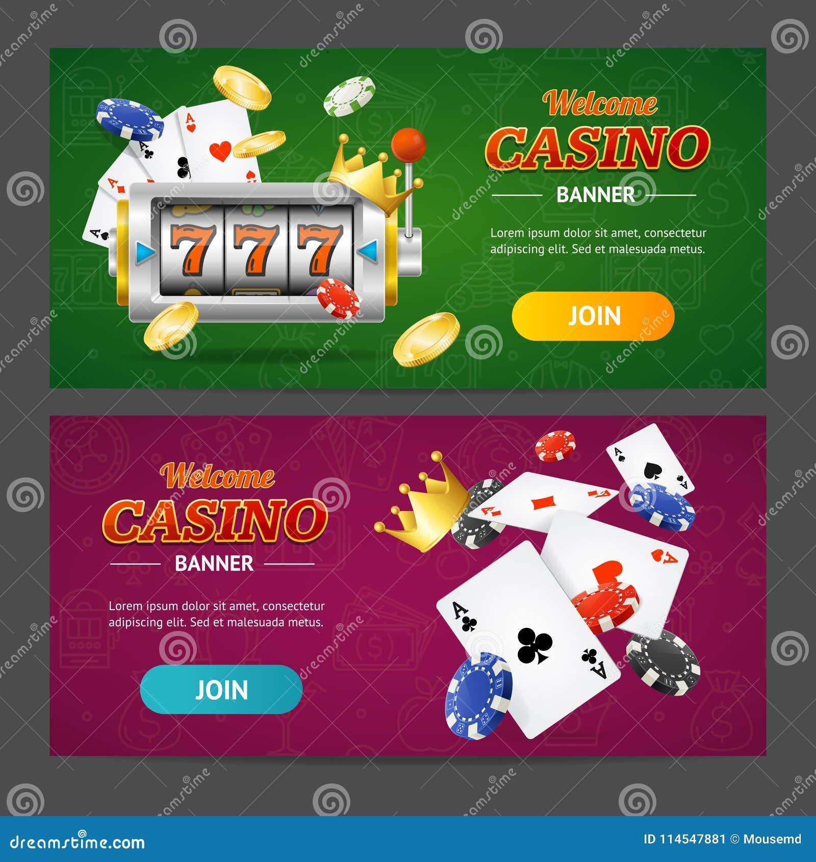 现实赌博娱乐场横幅水平的集合 向量