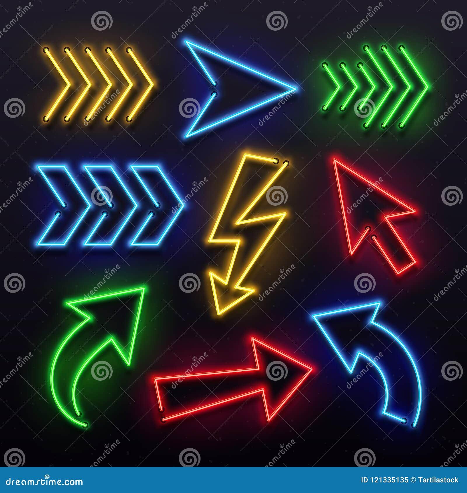 现实霓虹箭头 夜箭头标志灯光 光亮的箭头标志和发光的定向尖传染媒介集合