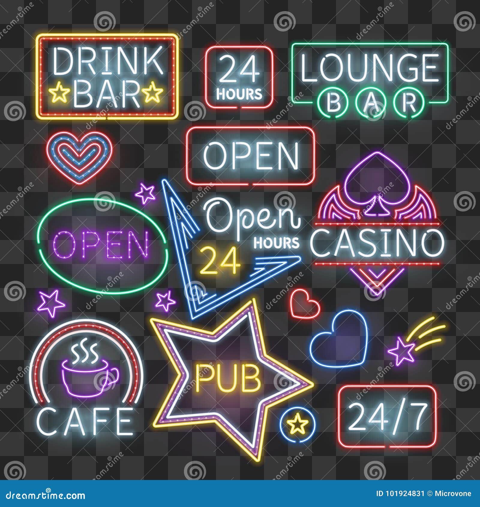 现实霓虹酒吧照明在透明背景签字