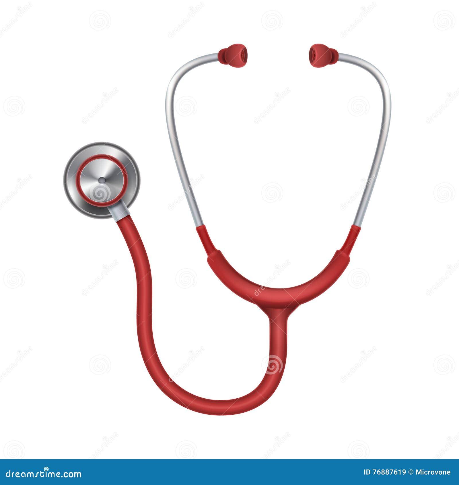 现实医疗听诊器,在白色背景传染媒介例证隔绝的phonendoscope