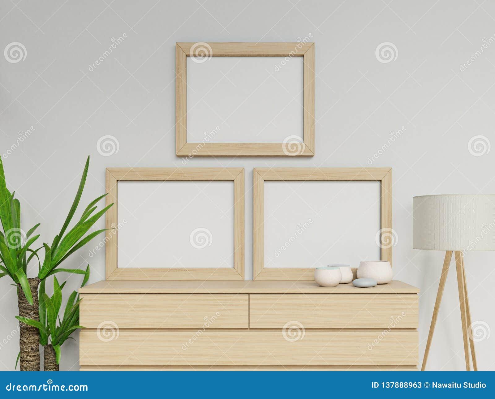 现实3d使与两个a3空白海报的舒适家庭内部假装与垂直的轻的木框架的设计坐抽屉