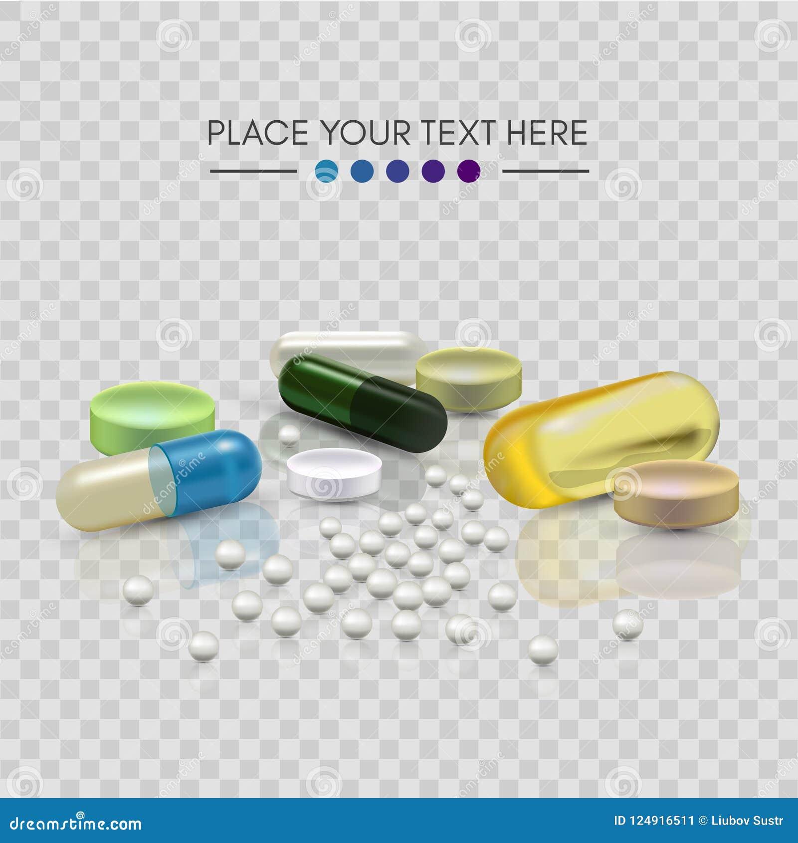 现实3d药片 药房,抗生素,维生素,片剂,胶囊 医学 片剂的传染媒介例证和