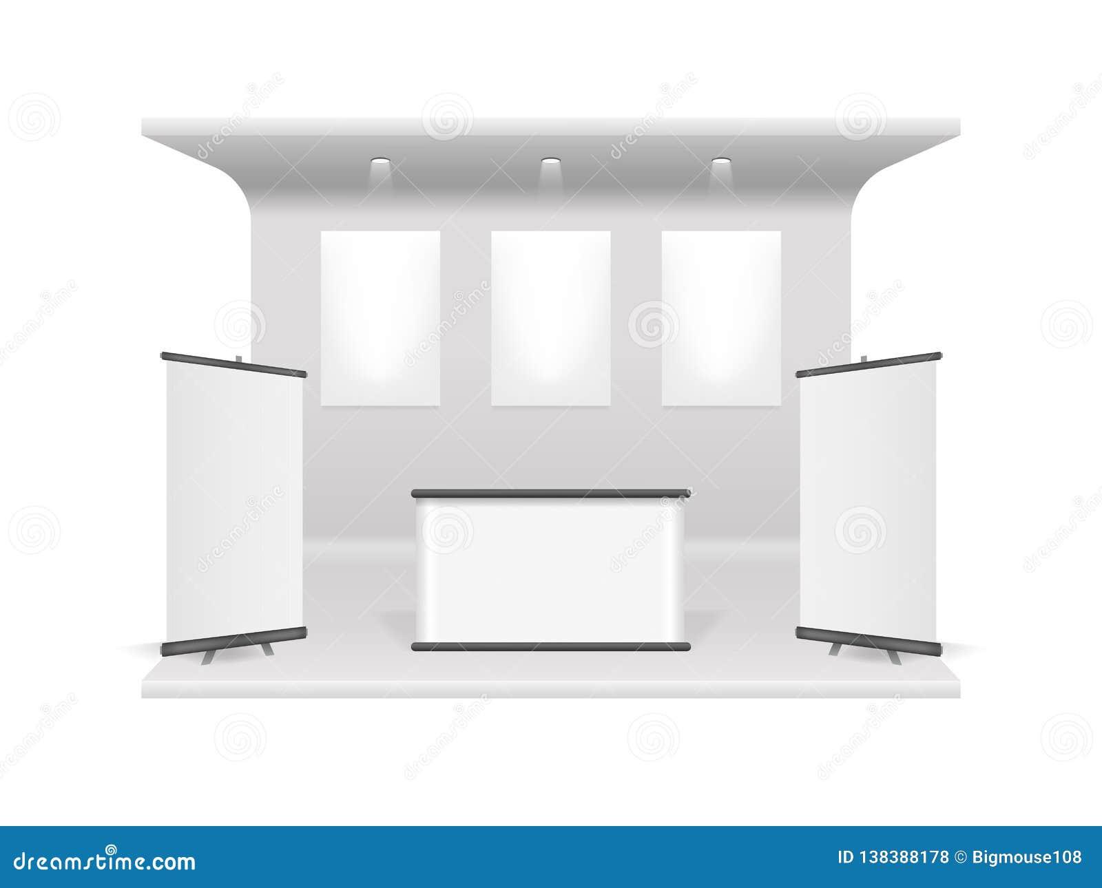 现实3d详述了白色空白的陈列立场建筑模板大模型 向量