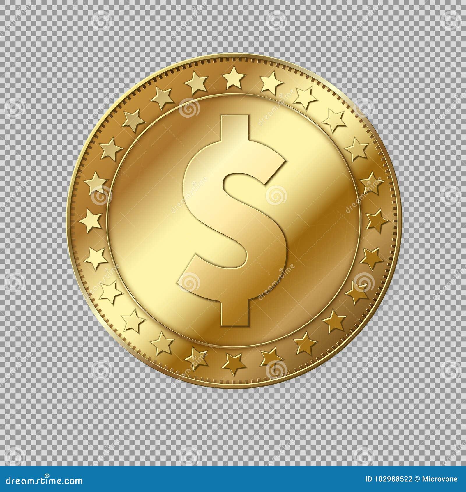 现实3d金美元硬币