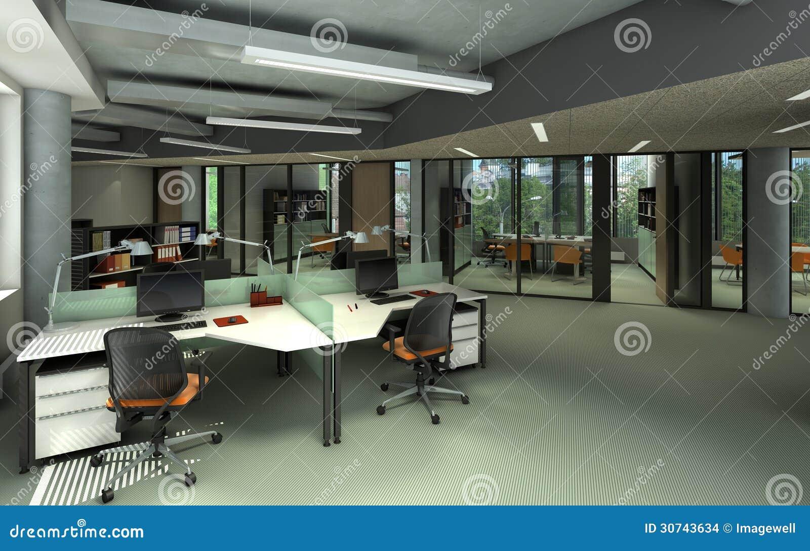 现代办公室内部