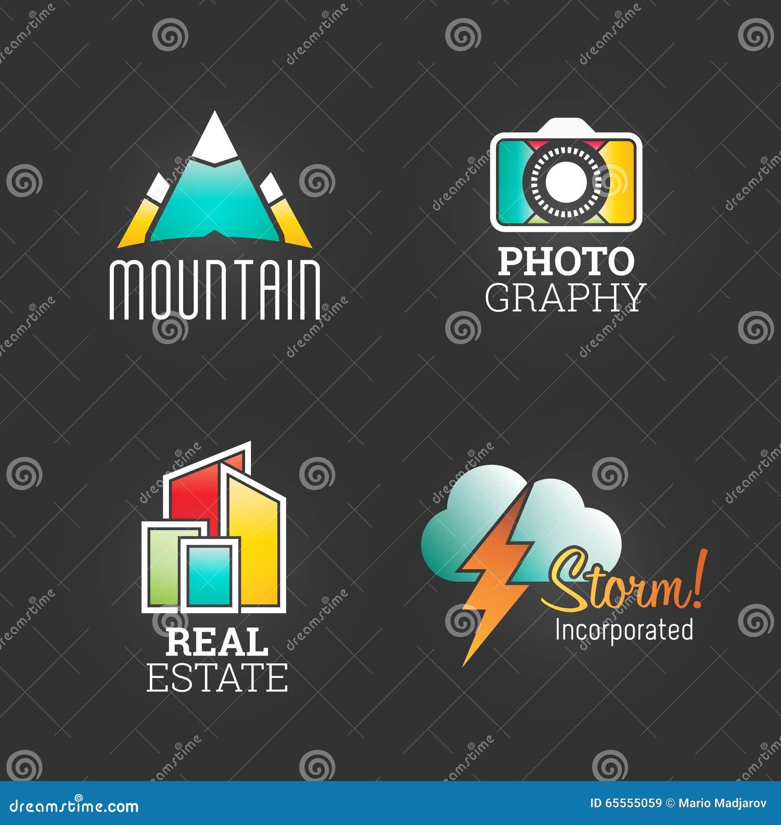 现代商标集合 世界市场商业公司媒介标志网模板 商标传染媒介元素组装 品牌象设计