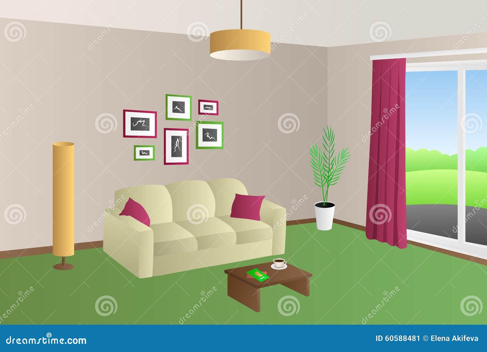 现代客厅内部米黄绿色沙发红色把灯窗口例证枕在